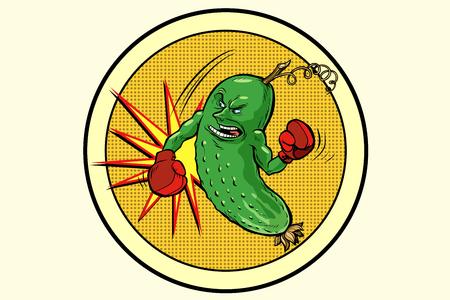 sterke komkommer, vegetarisch embleem en gezond dieet. Comic book cartoon popart retro vector illustratie