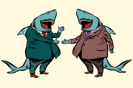 business shark deal negotiations. Comic cartoon pop art retro illustration vector drawing