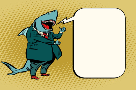 business shark comic bubble Stok Fotoğraf