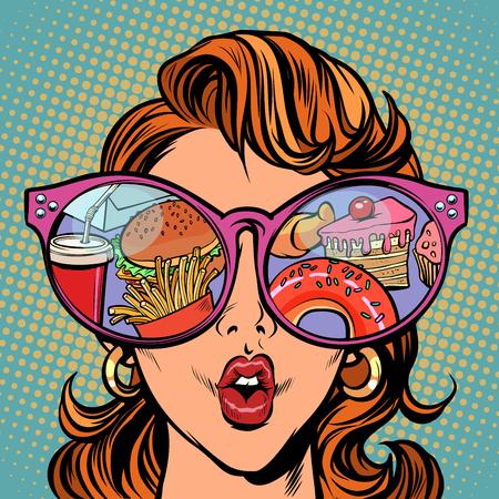 Vrouw met zonnebril en fastfood en snoep in de reflectie.