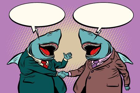 business sharks talk to each other. Comic cartoon pop art retro illustration vector kitsch drawing