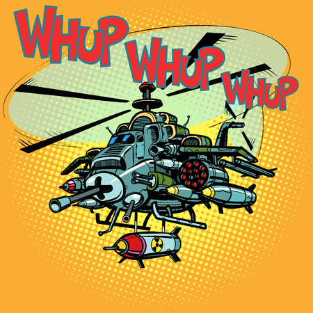 assault military helicopter with missiles. Comic cartoon pop art retro illustration vector kitsch drawing Stok Fotoğraf
