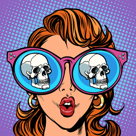 Woman with sunglasses. human skull in reflection. Comic cartoon pop art retro illustration vector kitsch drawing Фото со стока