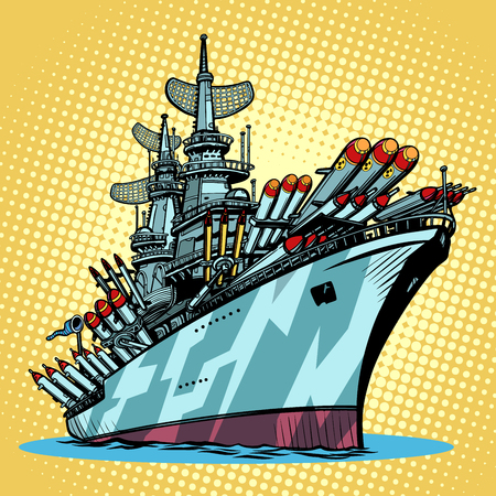 battleship warship, missile cruiser. Comic cartoon pop art retro illustration vector kitsch drawing Banco de Imagens