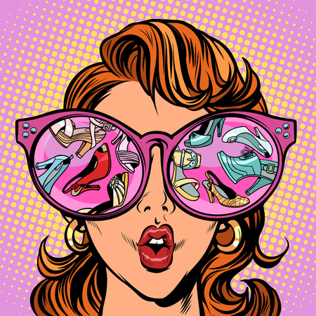 Girl sees women shoes. Comic cartoon pop art retro vector illustration drawing Illustration