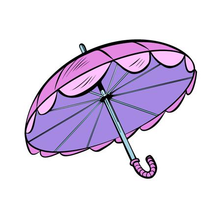 Pink sun umbrella. cartoon pop art retro illustration vector drawing Illustration