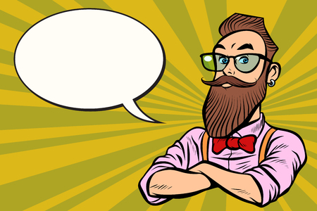Stylish bearded hipster with glasses. confident. Comic cartoon pop art retro illustration vector drawing Imagens - 100910224