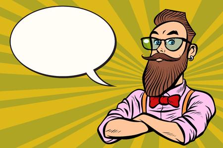 Stilvoller bärtiger Hipster mit Brille. zuversichtlich. Retro-Illustrationsvektorzeichnung der Comic-Karikatur-Pop-Art