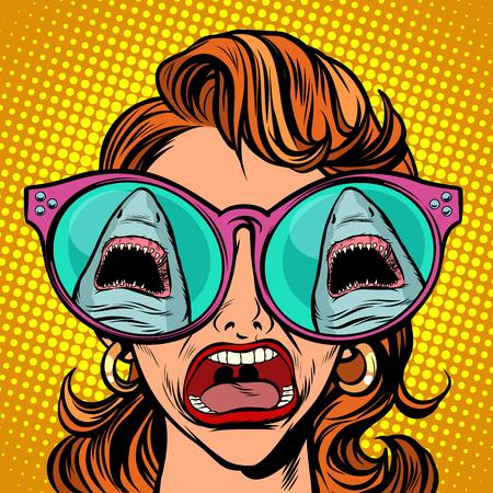 The girl sees a shark, yells and panics. Comic cartoon pop art retro vector illustration drawing  イラスト・ベクター素材