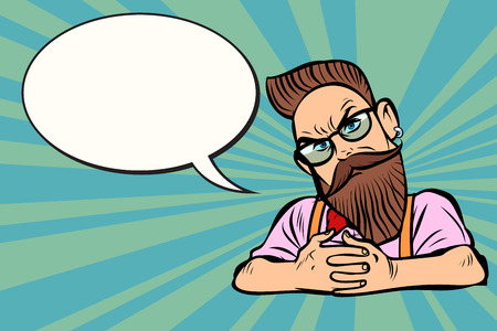 Stylish bearded hipster with glasses, skeptical. Comic cartoon pop art retro illustration vector drawing. Иллюстрация