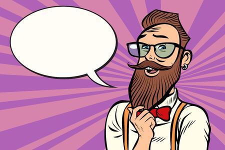 Stylish bearded hipster with glasses thinks. Comic cartoon pop art retro illustration vector drawing.