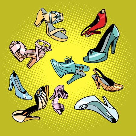 Fashionable womens shoes. Comic cartoon pop art retro vector illustration drawing Archivio Fotografico - 100950642