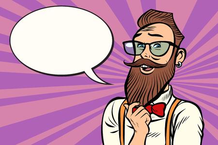 Stylish bearded hipster with glasses thinks. Comic cartoon pop art retro illustration vector drawing Stock Photo