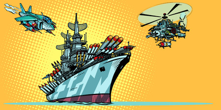 military aircraft carrier with fighter jets and helicopters Illustration