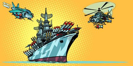 Militärflugzeugträger mit Kampfjets und Hubschraubern