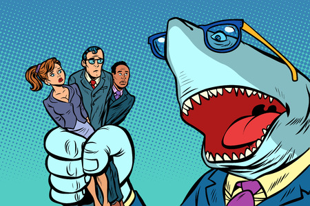 Shark boss business and office staff Ilustração