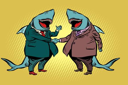 businessman shark business partnership Çizim
