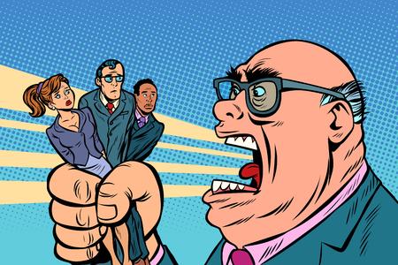 El jefe les grita a los subordinados