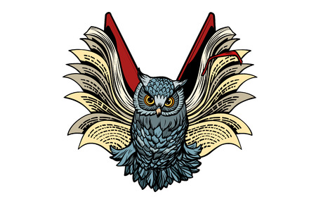 owl book flies, isolate on white background