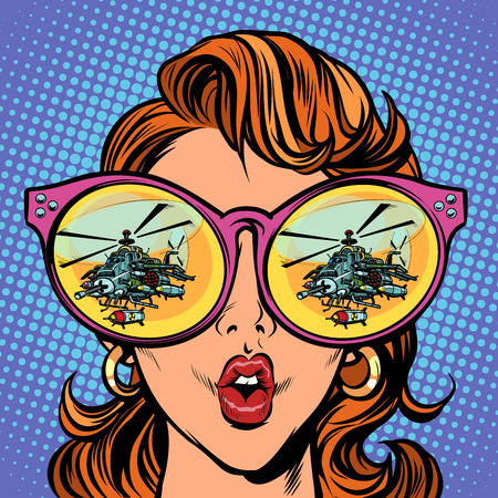 Woman with sunglasses. military helicopter in reflection