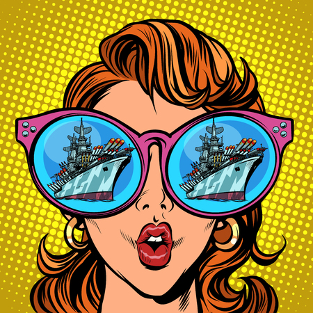 Woman with sunglasses. Warship battleship cruiser in reflection Illustration