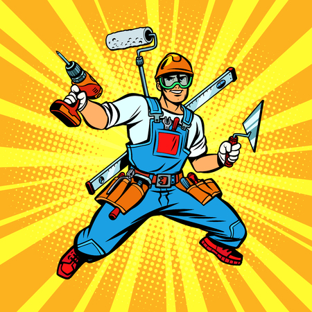 Multi-armed Builder repairman Standard-Bild - 102960866