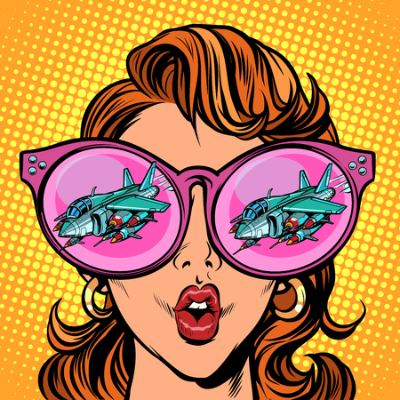 Woman with sunglasses. Military aircraft in reflection Illustration