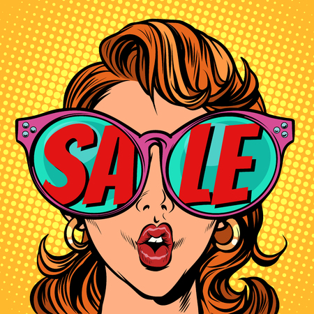 Woman with sunglasses. sale in reflection Illustration