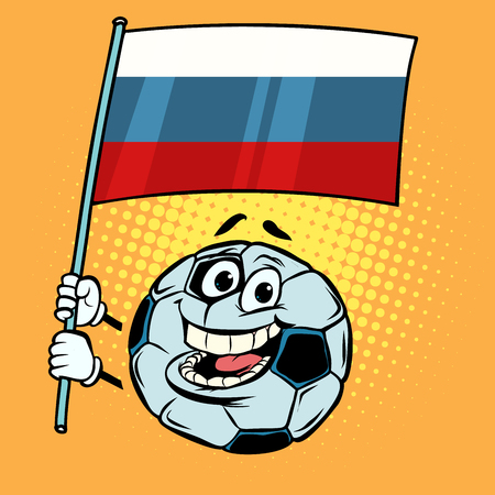 Russia  Country flag. Football soccer ball. Funny