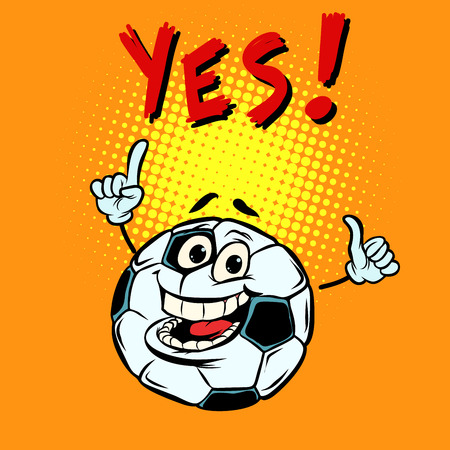 Yes happy fan. Football soccer ball. Funny character Çizim