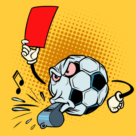 Red card referee whistle. Football soccer ball. Funny character Vettoriali