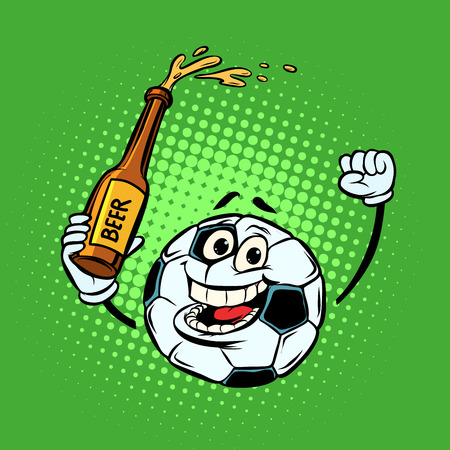 Fans with a bottle of beer. Football soccer ball. Funny character