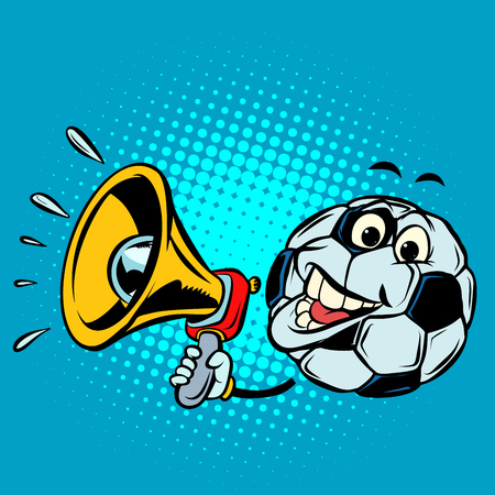 Fan with megaphone. Football soccer ball. Funny character Illustration