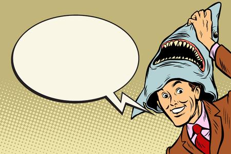 Joyful man, carnival shark costume Illustration