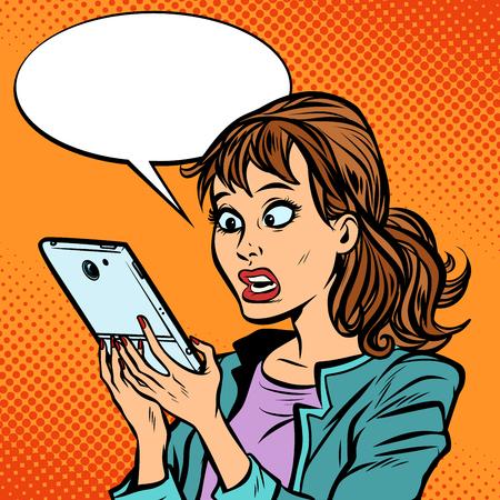 Choqué femme lisant un smartphone Vecteurs