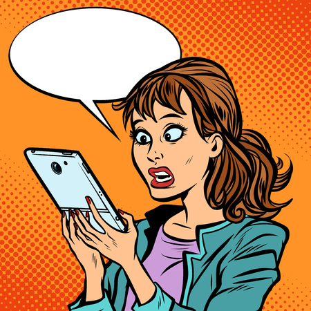 Shocked woman reading a smartphone