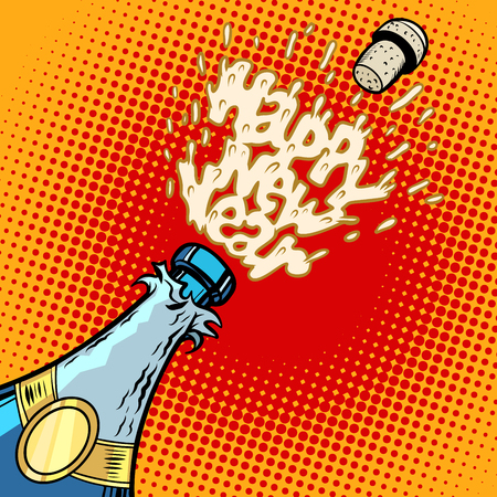 Champagne bottle opens, foam and cork Illustration