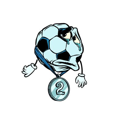 Misserfolg zweiter Platz Silbermedaille. Charakter Fußball Fußball Vektorgrafik