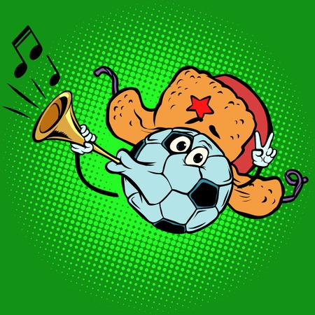 Russian Fan horn, loud sound. Character soccer ball football Çizim