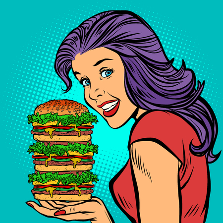 giant Burger. Hungry woman eating fast food Illustration