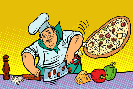 Chef cooking pizza
