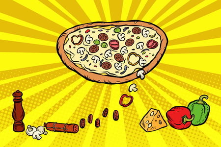 pizza ingredients cheese sausage peppers mushrooms Illustration