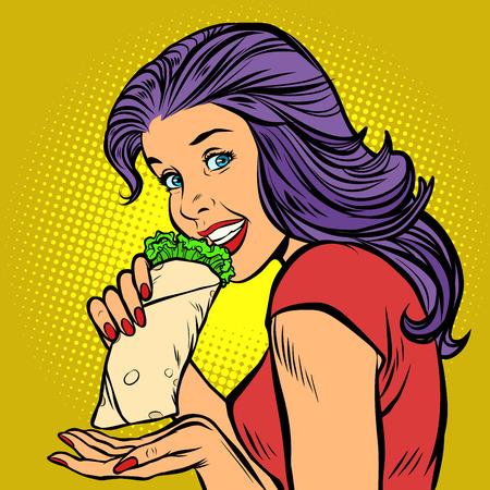 Shawarma kebab Doner. Mujer hambrienta comiendo comida rápida