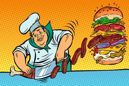 Cook prepares Burger. Fast food restaurant