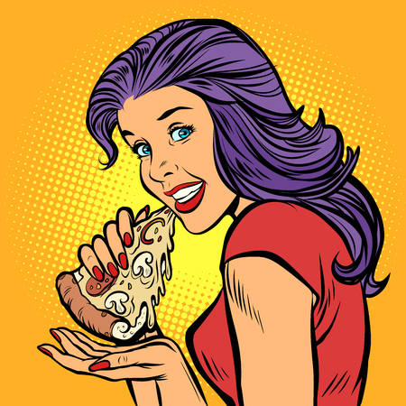 pizza. Hungry woman eating fast food  イラスト・ベクター素材
