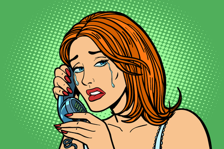 tearful Woman talking on the phone. Emotions. Illustration
