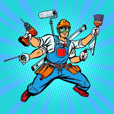 Muchos trabajador reparador constructor de mano Ilustración de vector