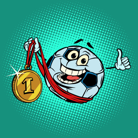 Winner first place gold medal. Character soccer ball football 向量圖像