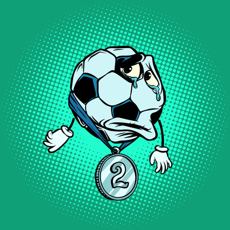 Failure second place silver medal. Character soccer ball footbal