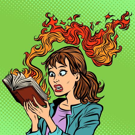 Femme lisant un livre brûlant. Concept de censure Vecteurs